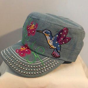 Accessories - RHINESTONE HUMMINGBIRD CASTRO HAT